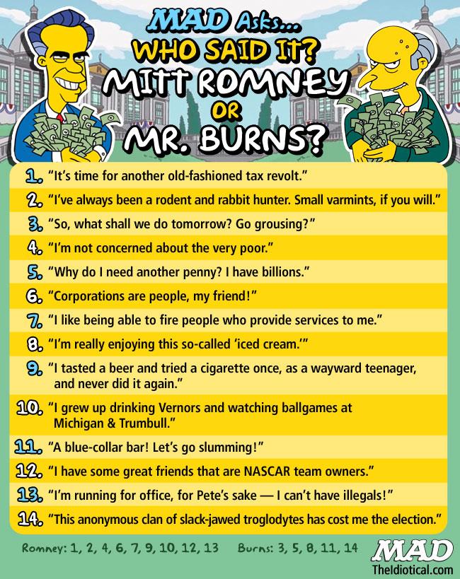 Mitt Romney or Mr. Burns
