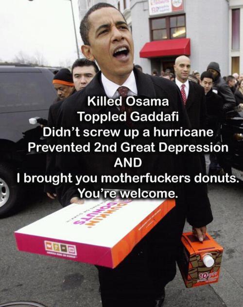 Obama brings dounuts